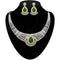 Kriaa White And Green Stone Necklace Set - 2105301-CL