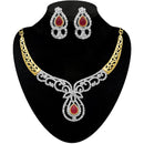 Kriaa Maroon Austrian Stone 2 Tone Plated Necklace Set