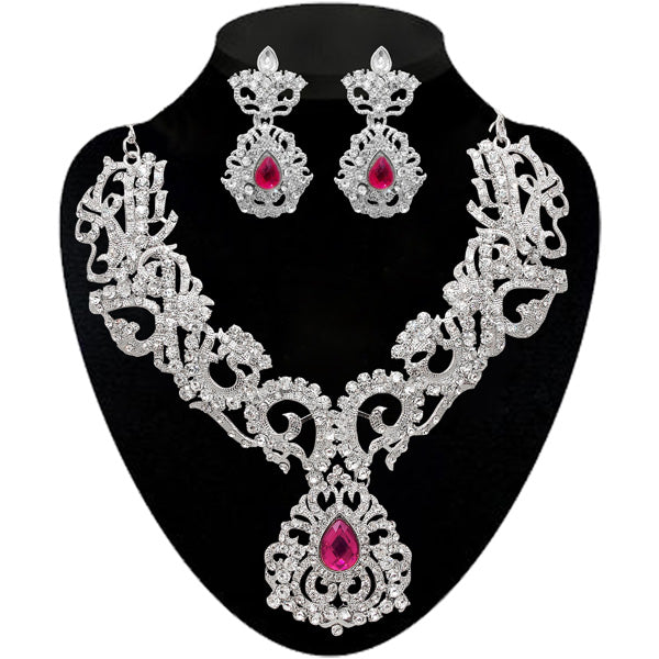 Kriaa Stone Rhodium Plated Necklace Set