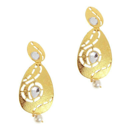 The99Jewel Kundan Gold Plated Pearl Drop Danglers Earrings