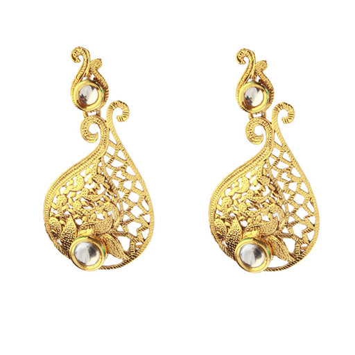 Kriaa Kundan Gold Plated Zinc alloy Dangler Earring