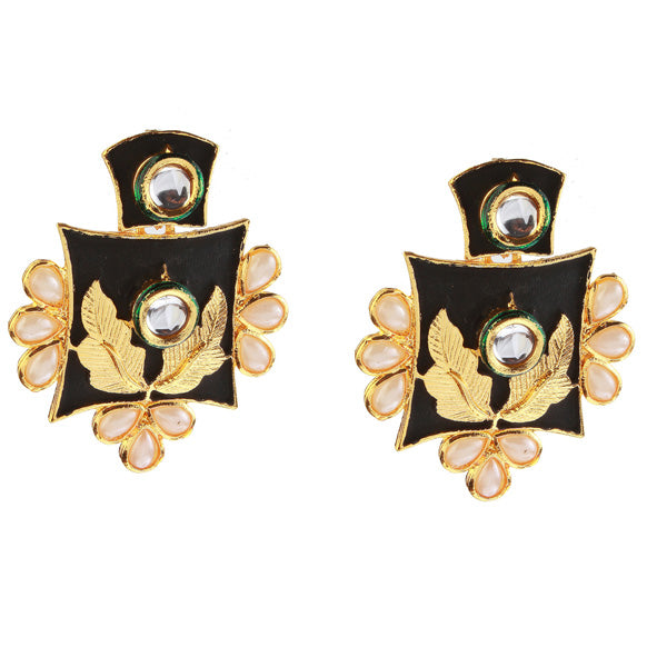 Kriaa Pearl And Kundan Gold Plated Dangler Earring