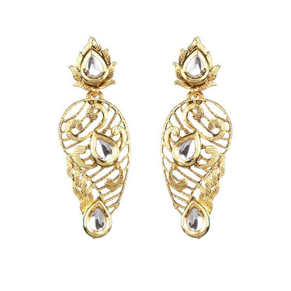 The99Jewel Gold Plated White kundan Danglers Earrings
