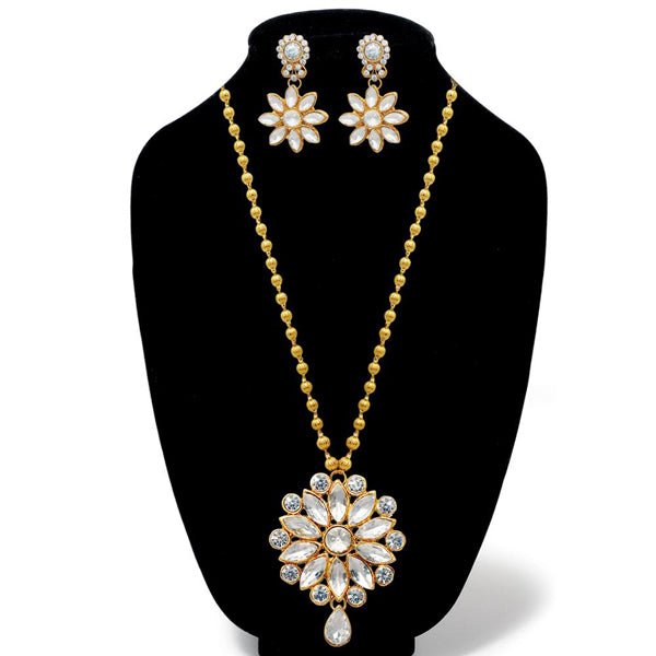 Kriaa Glass Stone Gold Plated Necklace Set