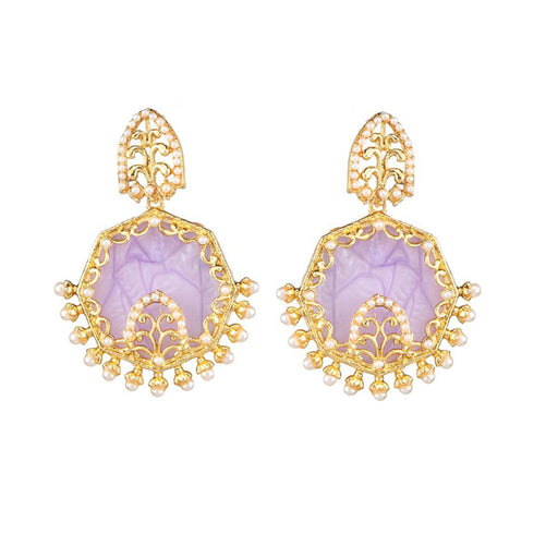 Kriaa Purple Resin Gold Plated Dangler Earring
