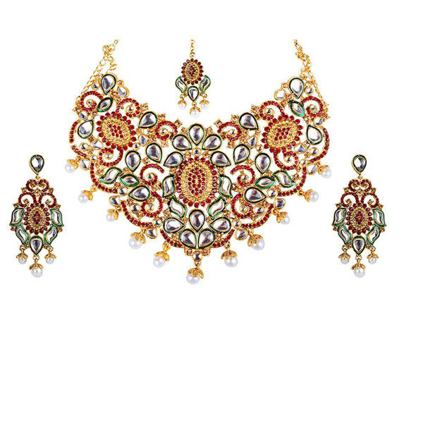 Kriaa  Green stone Kundan Necklace Set With Maang Tikka