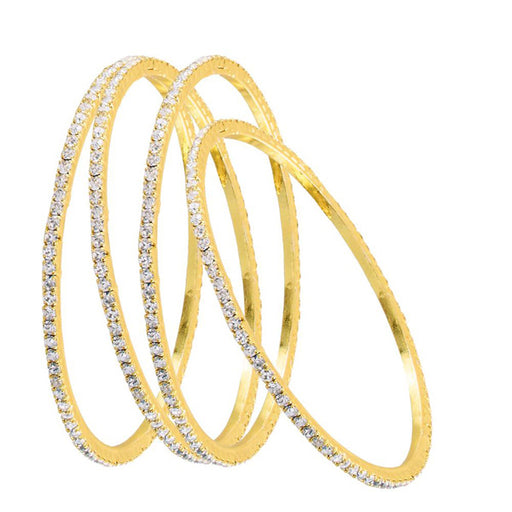 Kriaa Gold Plated Austrian Stone Bangle Set - Jewelmaze.com