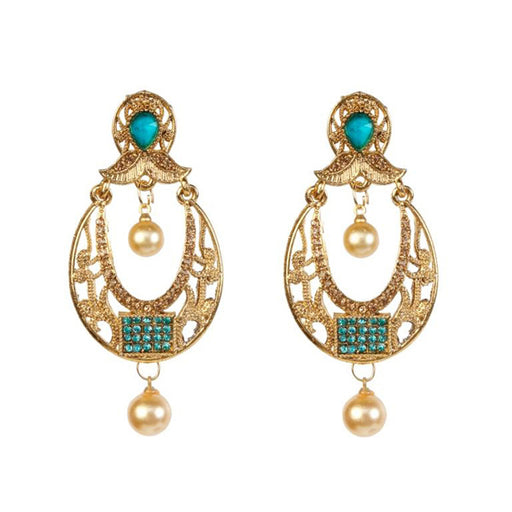 Kriaa Stone Zinc Alloy Gold Plated Dangler Earring