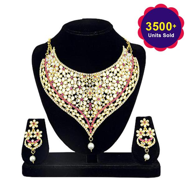 Kriaa Gold Plated Stone Kundan Zinc Alloy Necklace Set - 2105401 - ES