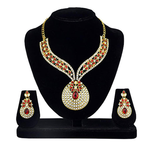 Kriaa Gold Plated Kundan Stone Necklace Set