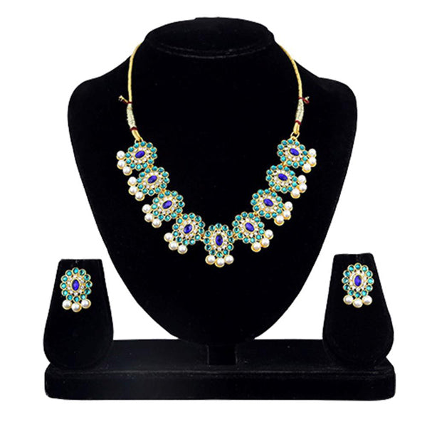 Kriaa Blue And Purple Kundan Necklace Set