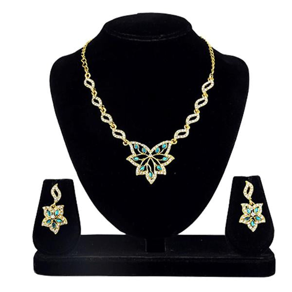 Kriaa Gold Plated Blue Kundan And Stone Necklace Set - 2105407 - ES