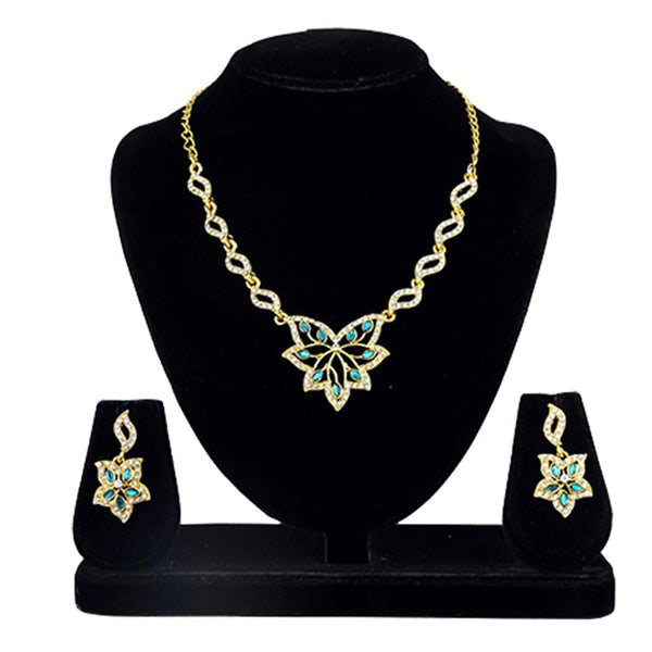 Kriaa Gold Plated Blue Kundan And Stone Necklace Set