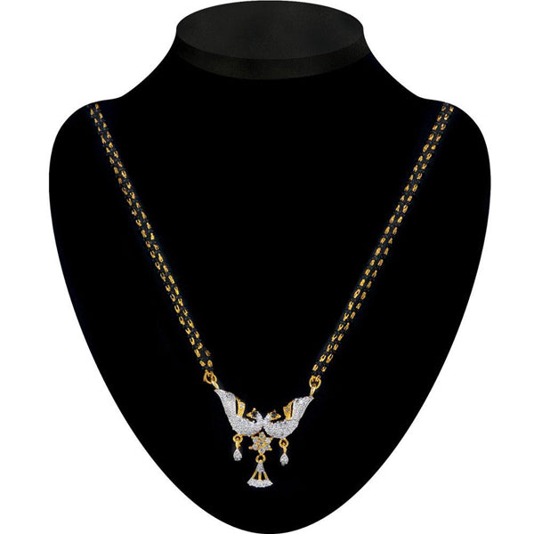 Kriaa White American Diamond Peacock Design Mangalsutra