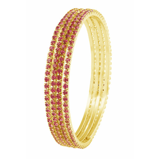 kriaa Gold Plated Pink Stone 4 Bangle Sets - Jewelmaze.com