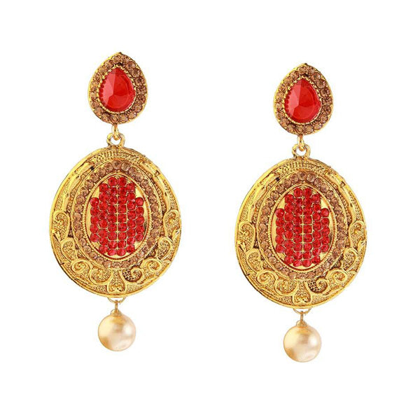 Kriaa Stone Gold Plated Pearl Drop Dangler Earring