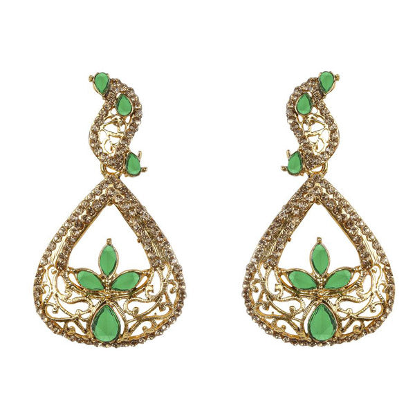 Kriaa Green Kundan Gold Plated Dangler Earring