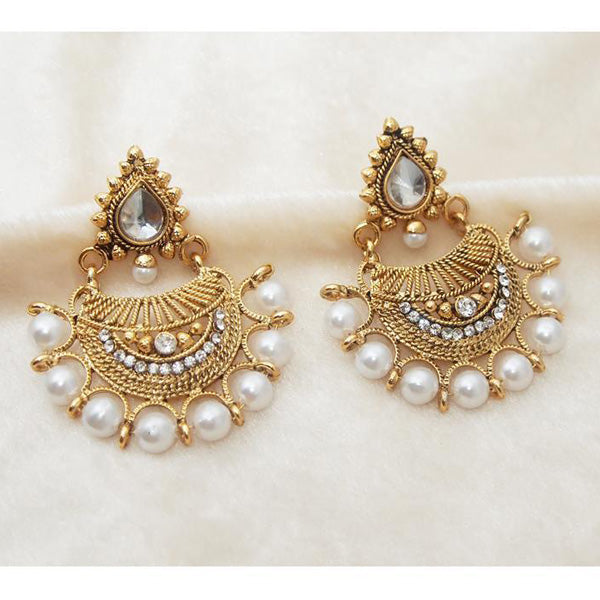 Kriaa White Austrian Stone & Pearl Chandbali Earrings