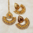 Shreeji Brown Kundan Dangler Earrings With Maang Tikka