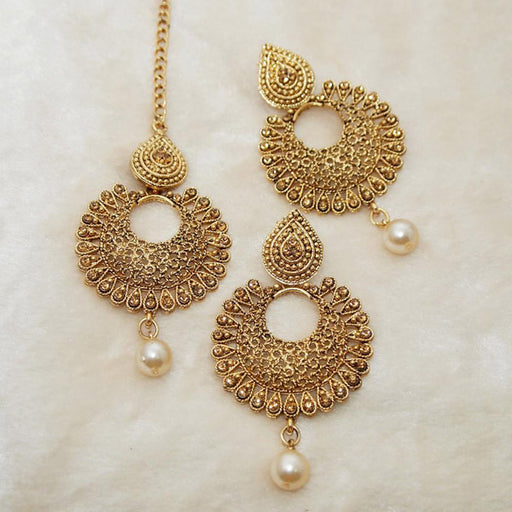 Shreeji Brown Stone Dangler Earrings With Maang Tikka