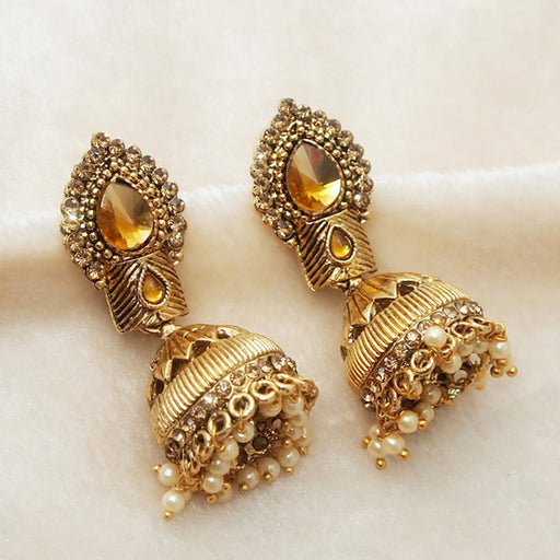 Kriaa Austrian Stone Pearl Gold Plated Jhumki Earrings