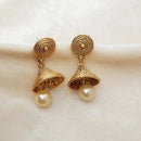 Kriaa Pearl Gold Plated Jhumki Earrings