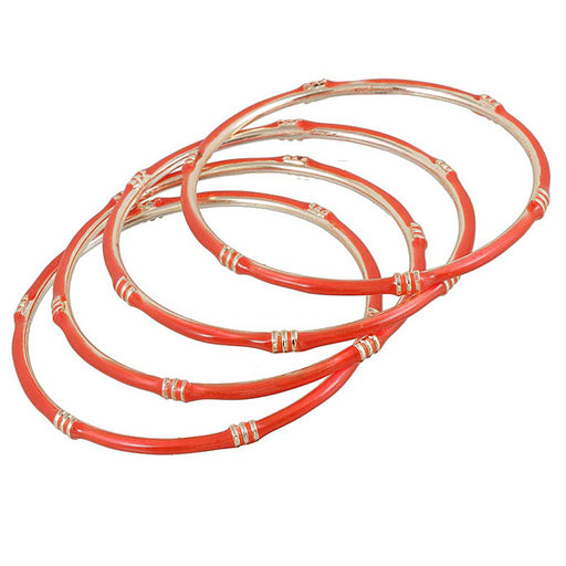 Kriaa Orange Gold Plated Set of 4 Bangle Sets