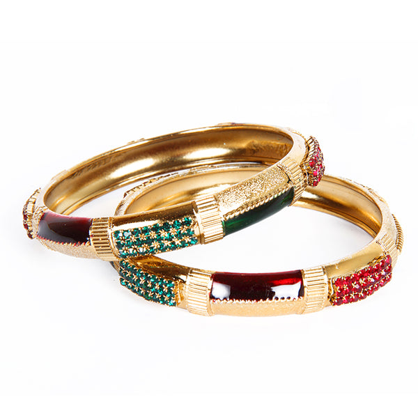 Kriaa Maroon And Green Meenakari Austrian Stone Bangle Set