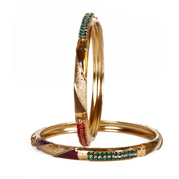 Kriaa Green & Red Stone Set of 2 Bangle Sets