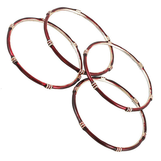 Kriaa Maroon Gold Plated Set of 4 Bangle Sets