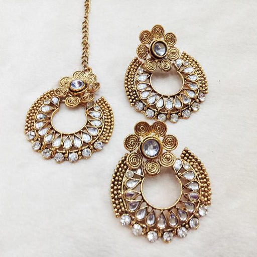 Shreeji White Kundan & Stone Earrings With Maang Tikka