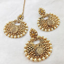 Shreeji Brown Stone Chandbali Earrings With Maang Tikka