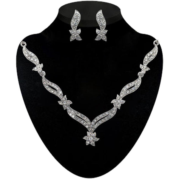 Kriaa White Stone Silver Plated Necklace Set