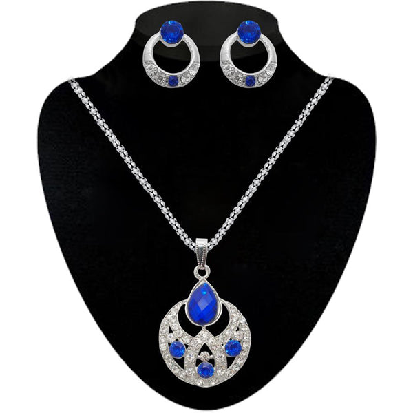 Kriaa Blue Stone Silver Plated Pendant Set