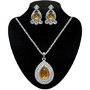Kriaa Brown Stone Silver Plated Pendant Set