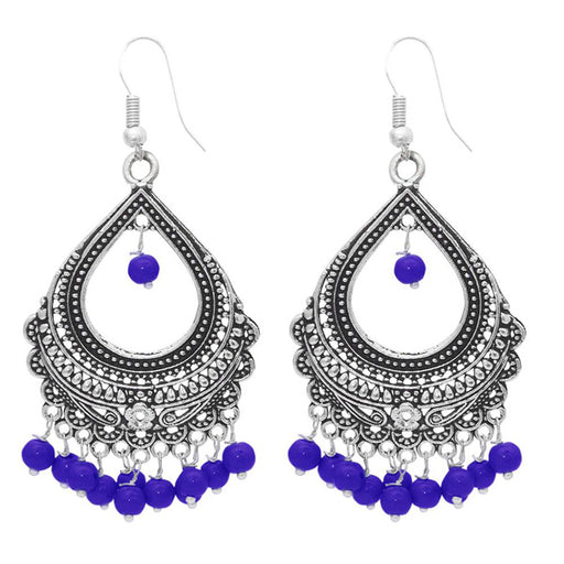 Kriaa Purple Rhodium Plated Jhumki Earring