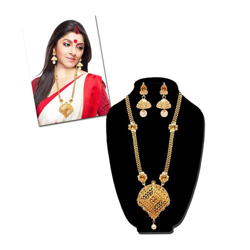 Kriaa Stone Gold Plated Long Haram Necklace Sets