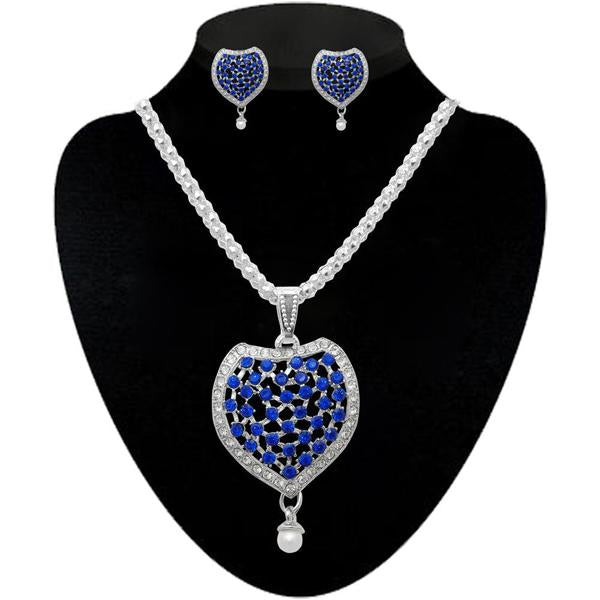 Kriaa Blue Silver Plated Stone Necklace Set - 2104507 - H