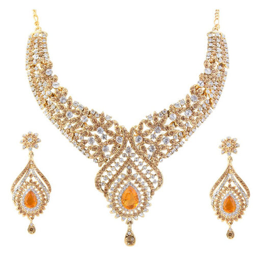 Kriaa Orange Austrian Stone Gold Plated Necklace Set