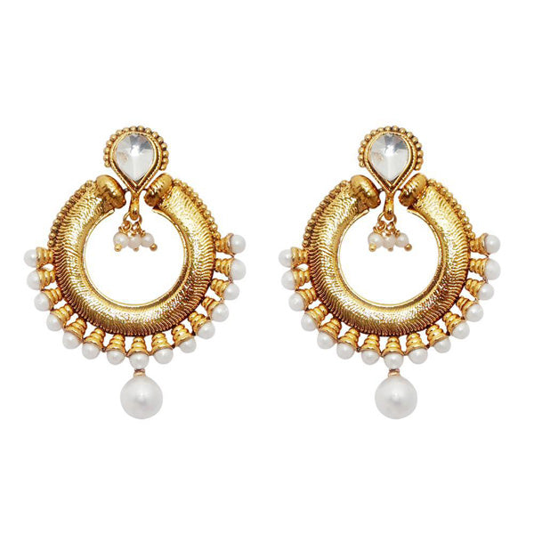 Kriaa White Kundan Pearl Drop Chandbali Earrings