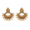 Kriaa Brown Stone & Pearl Chandbali Earrings