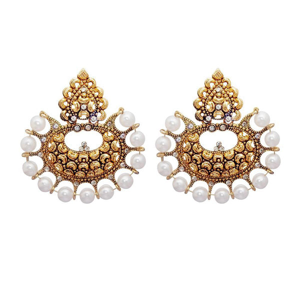 Kriaa White Austrian Stone And Pearl Chandbali Earrings