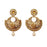Kriaa Brown Austrian Stone Pearl Dangler Earrings