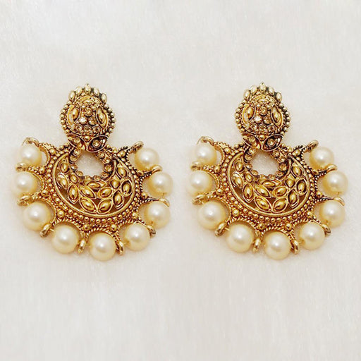 Kriaa Brown Austrian Stone & Pearl Chandbali Earrings