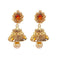 Kriaa Gold Plated Austrian Stone Pearl Drop Jhumki Earrings
