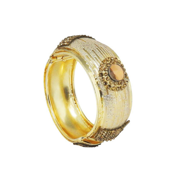 Kriaa Brown Austrian Stone Gold Plated Openable Kada