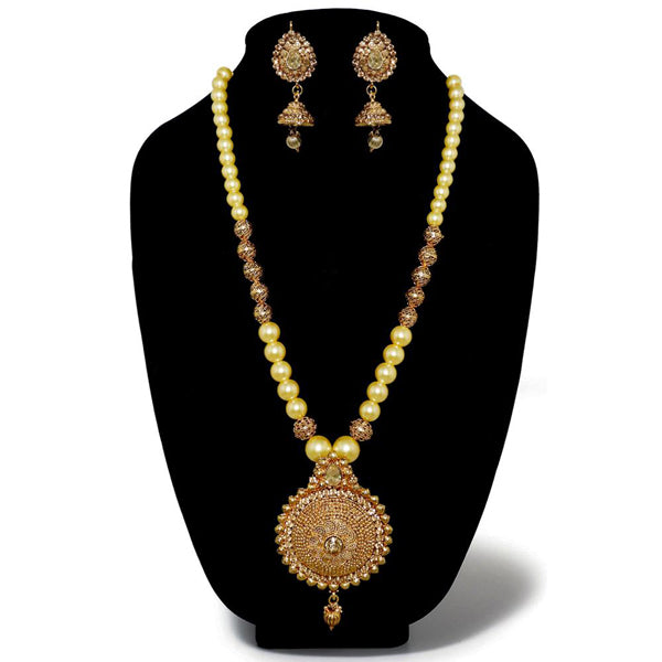 Kriaa Gold Plated Austrian Stone Pearl Necklace Set