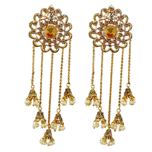 Kriaa Pearl Gold Plated Stone Roll Chain Earrings