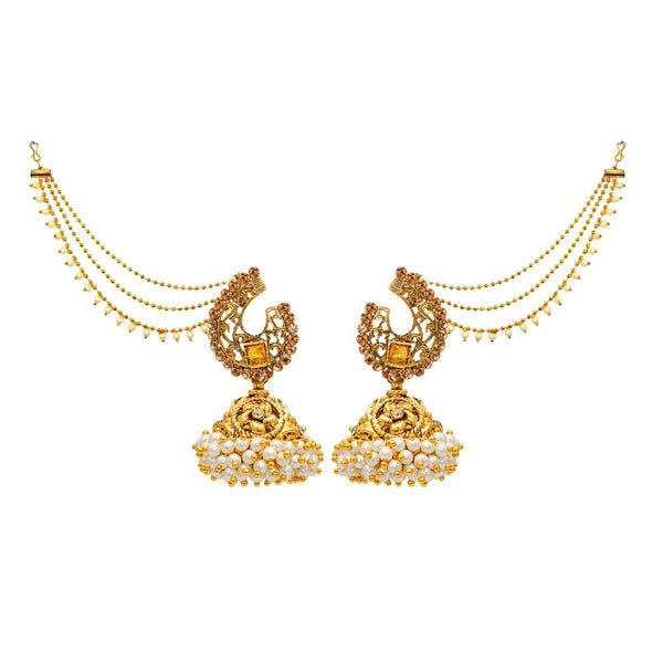 Kriaa Gold Plated Stone Jhumki Kan Chain Earrings
