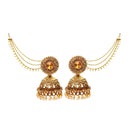 Kriaa Stone Gold Plated Jhumki Kan Chain Earrings